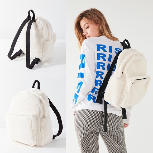 77b8fd363fbe NWT UO Sherpa Teddy Fuzzy Backpack in White